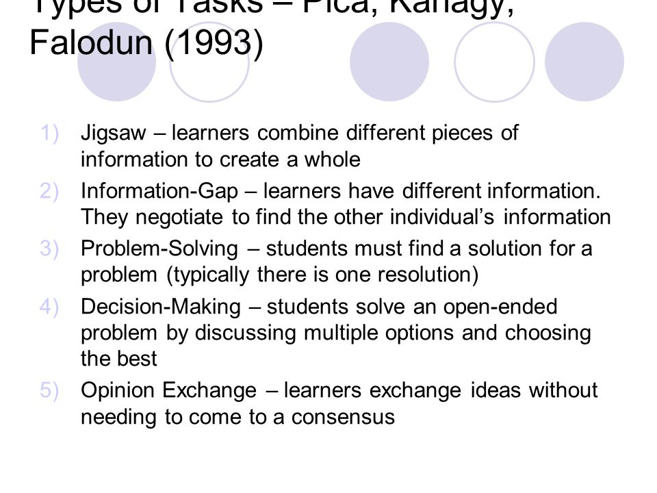 Types of Tasks – Pica, Kanagy, Falodun (1993)