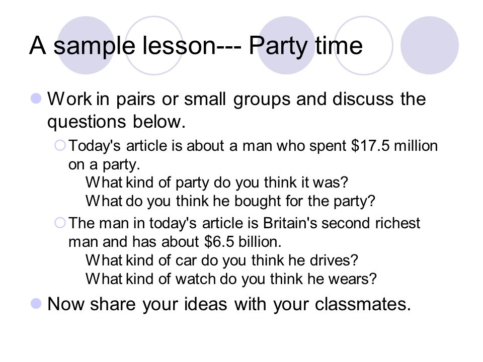 A sample lesson--- Party time