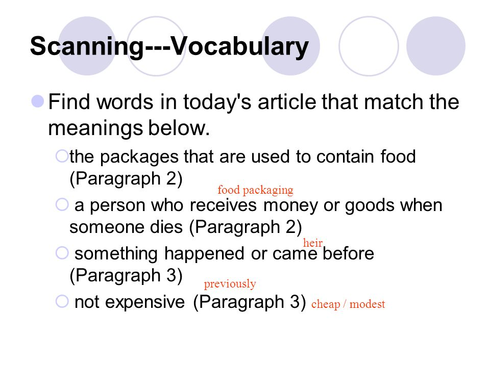 Scanning---Vocabulary