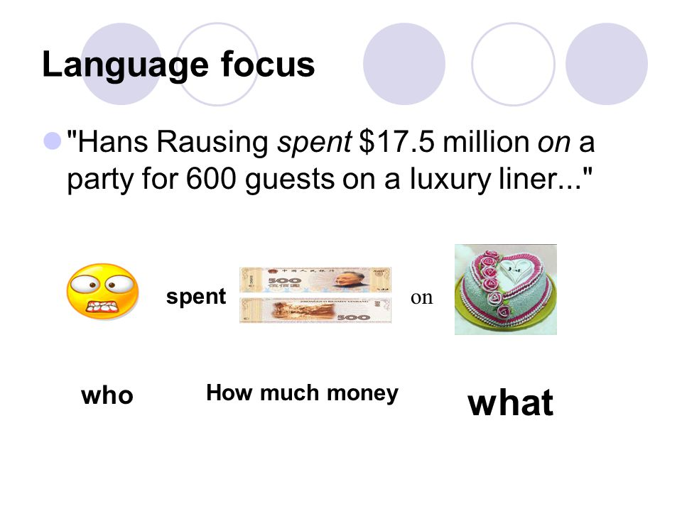 Language focus Hans Rausing spent $17.5 million on a party for 600 guests on a luxury liner... spent.