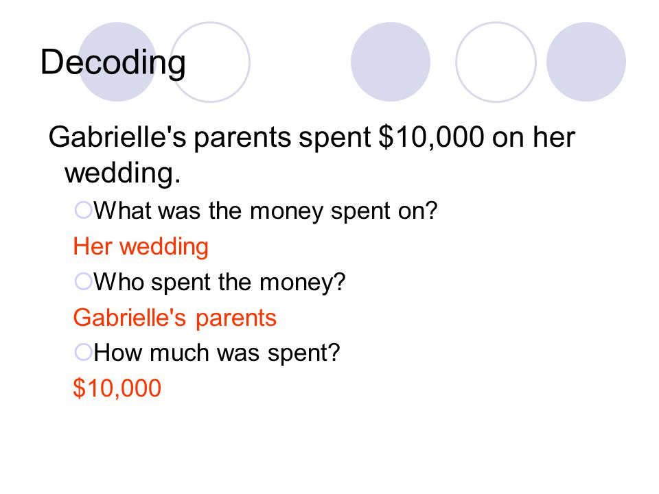 Decoding Gabrielle s parents spent $10,000 on her wedding.