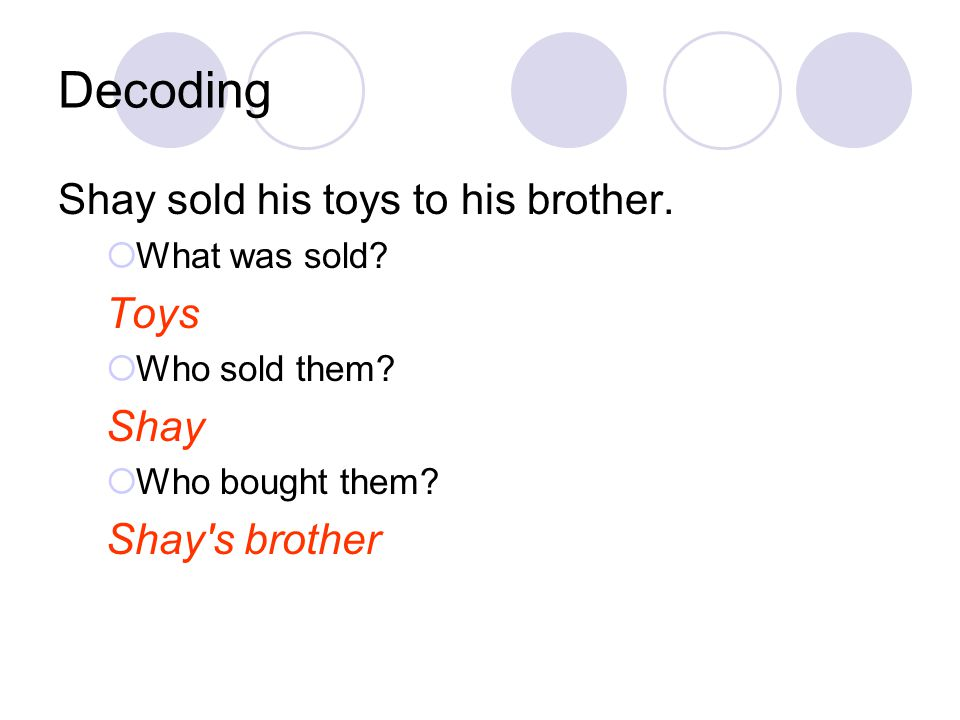 Decoding Shay sold his toys to his brother. Toys Shay Shay s brother