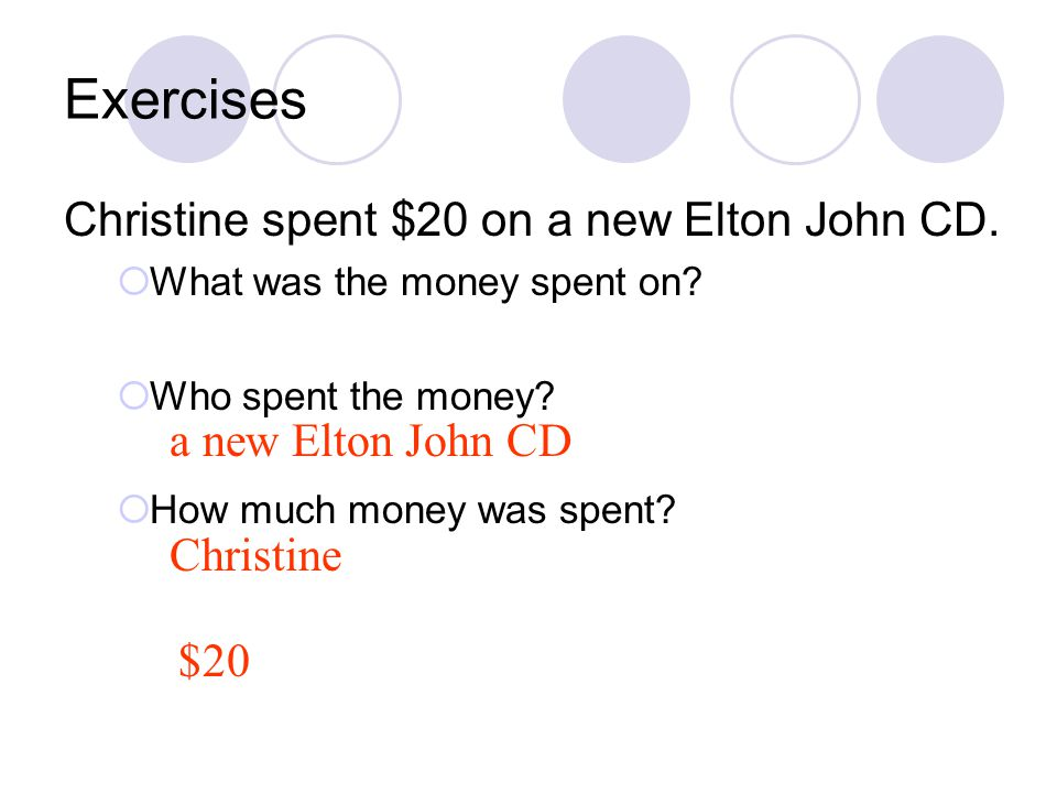 Exercises Christine spent $20 on a new Elton John CD.