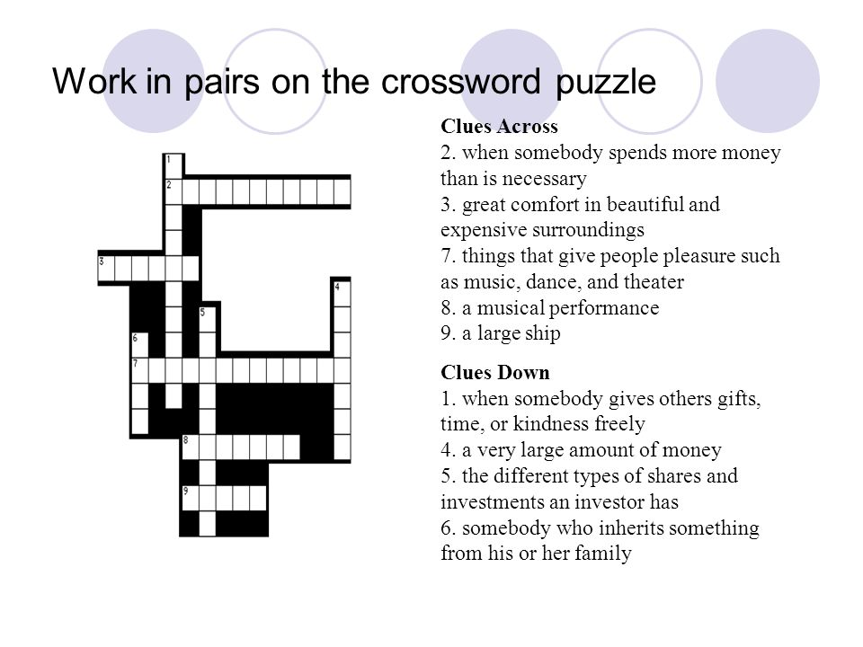 Work in pairs on the crossword puzzle