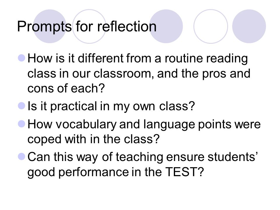 Prompts for reflection