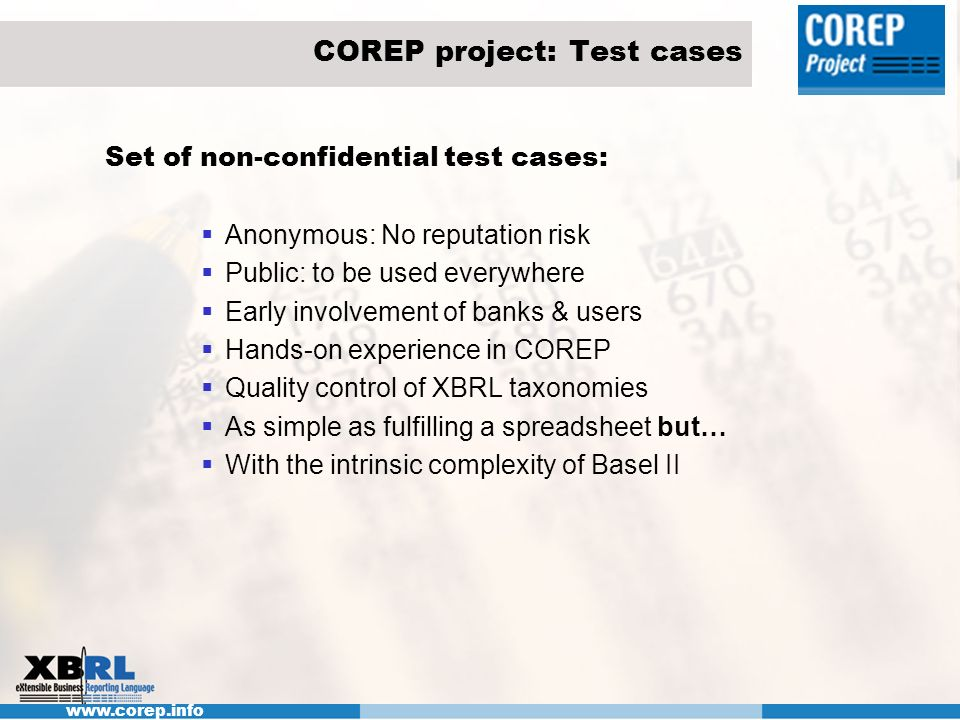 COREP project: Test cases