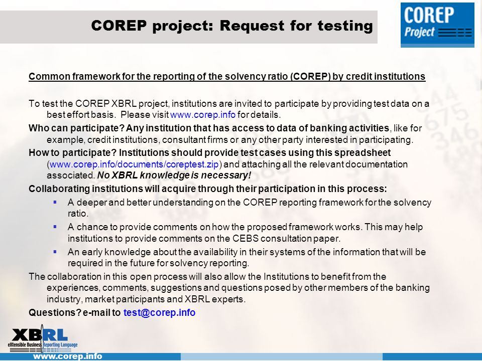COREP project: Request for testing