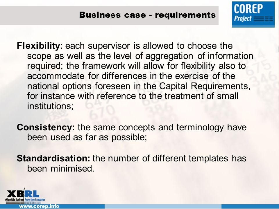 Business case - requirements