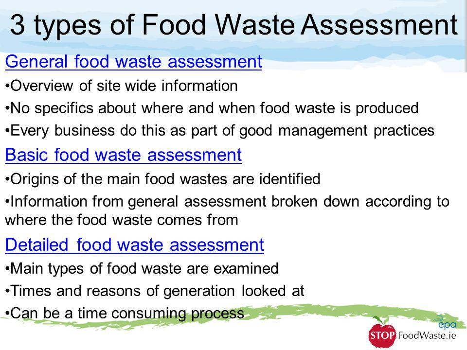 3 types of Food Waste Assessment