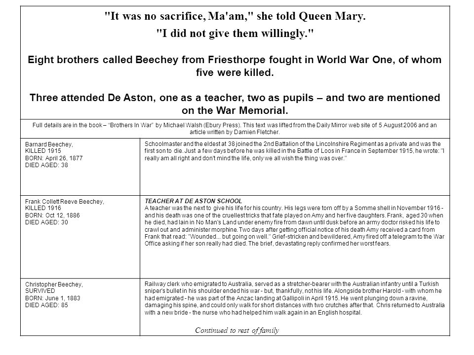 It was no sacrifice, Ma am, she told Queen Mary.