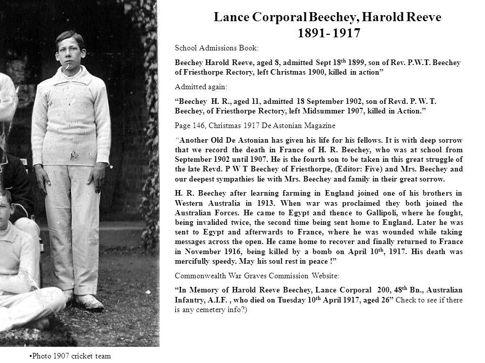 Lance Corporal Beechey, Harold Reeve 1891- 1917