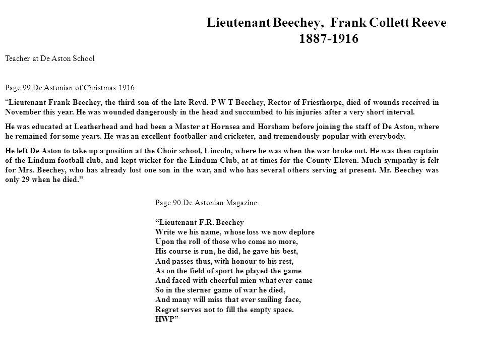 Lieutenant Beechey, Frank Collett Reeve 1887-1916