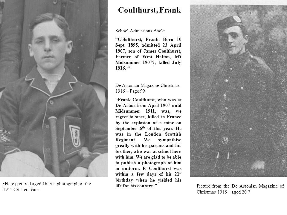 Coulthurst, Frank School Admissions Book: