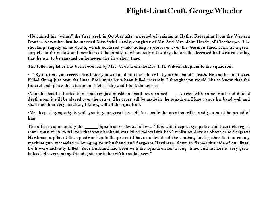 Flight-Lieut Croft, George Wheeler