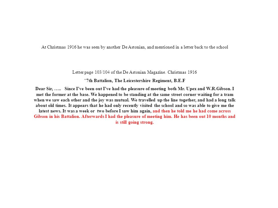 Letter page 103/104 of the De Astonian Magazine. Christmas 1916