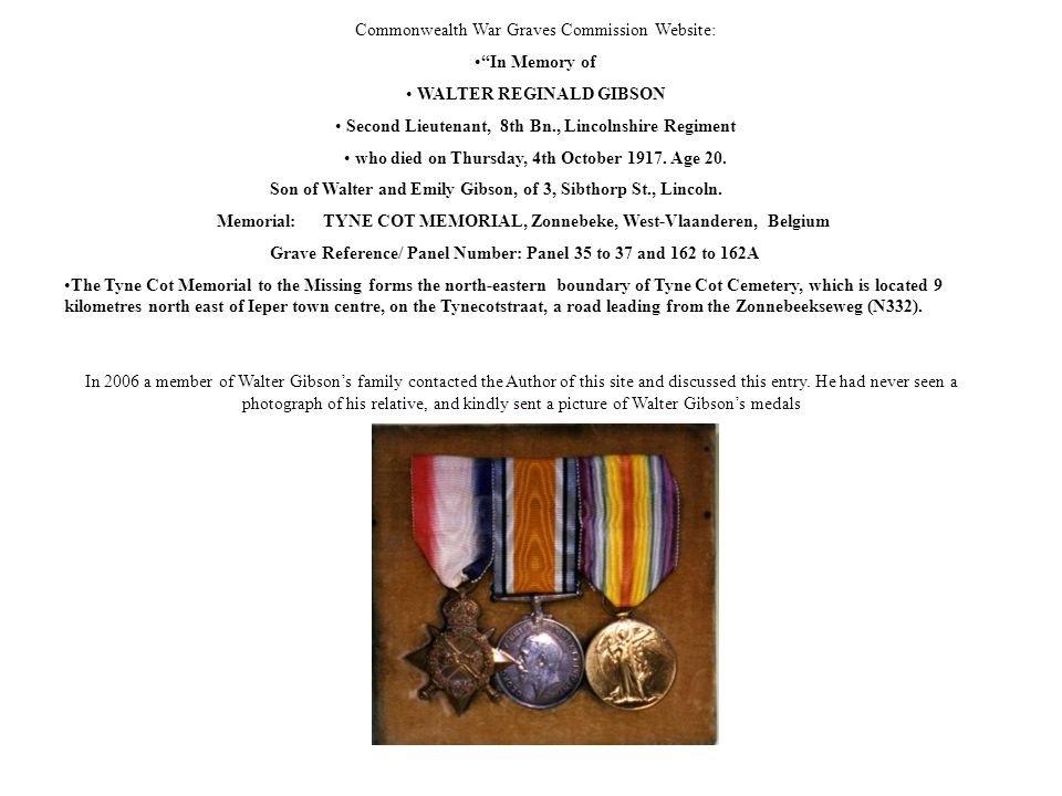 Commonwealth War Graves Commission Website: In Memory of