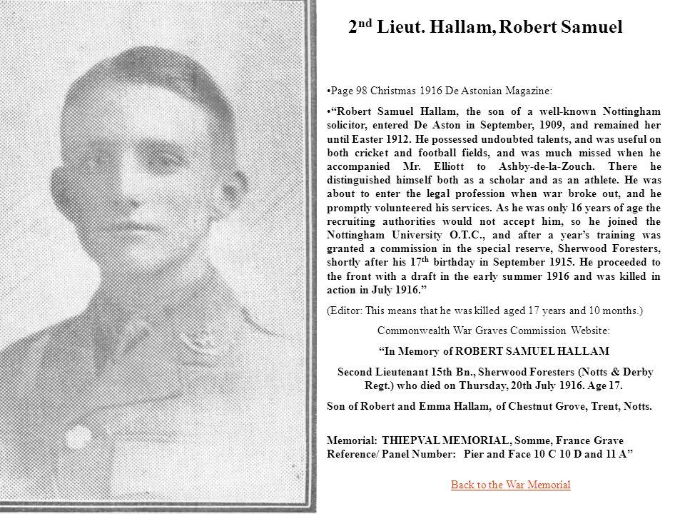 2nd Lieut. Hallam, Robert Samuel