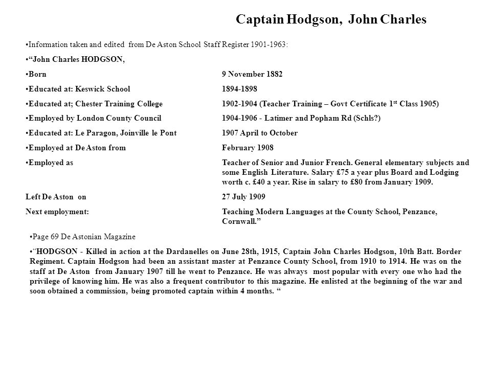 Captain Hodgson, John Charles