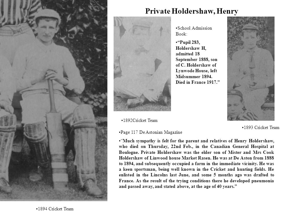 Private Holdershaw, Henry