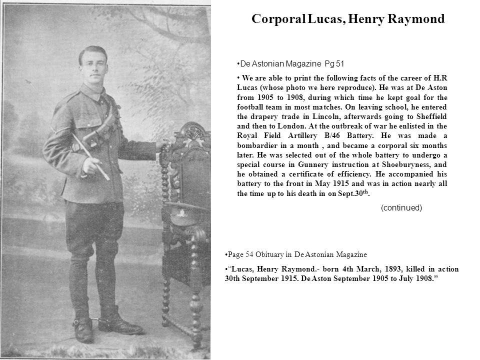 Corporal Lucas, Henry Raymond