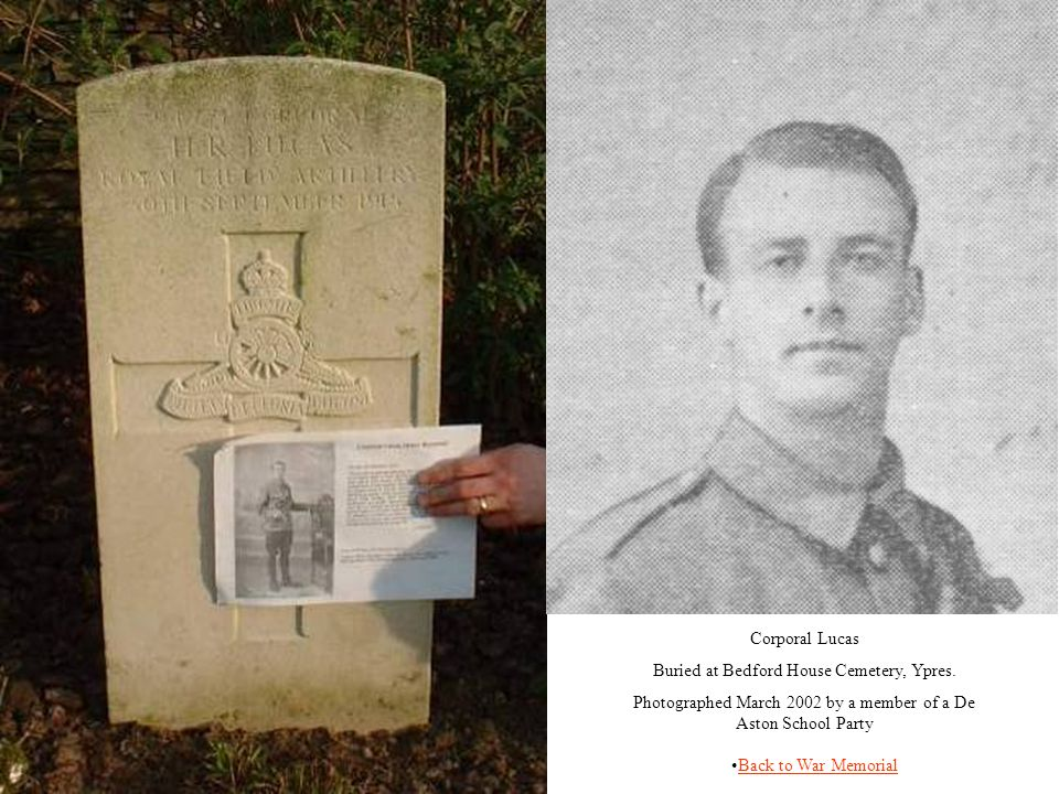 Buried at Bedford House Cemetery, Ypres.