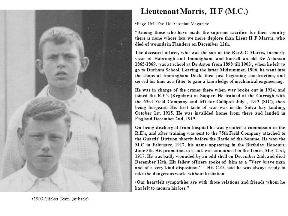 Lieutenant Marris, H F (M.C.)