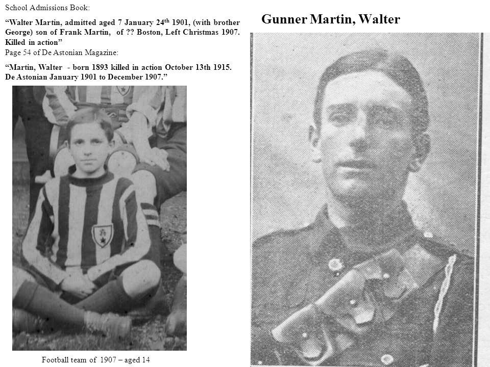 Gunner Martin, Walter School Admissions Book: