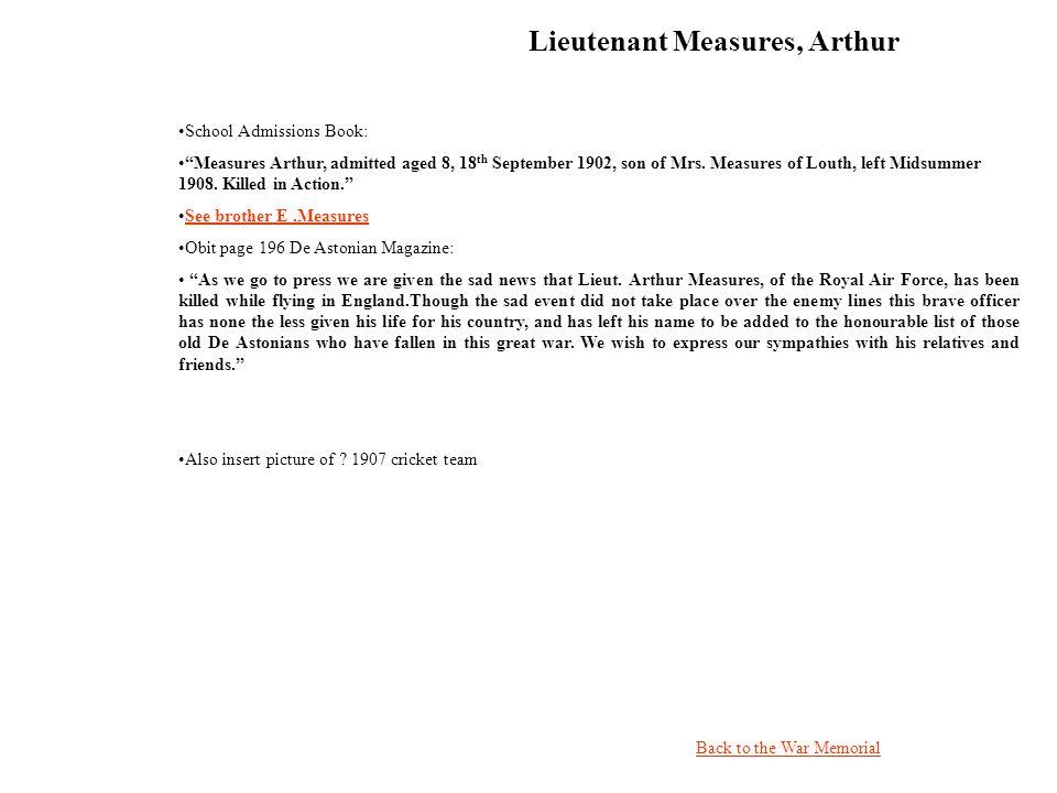 Lieutenant Measures, Arthur