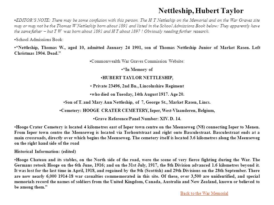 Nettleship, Hubert Taylor