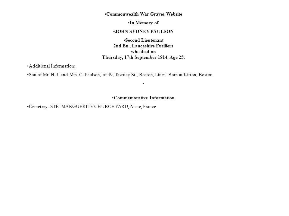 Commonwealth War Graves Website Commemorative Information