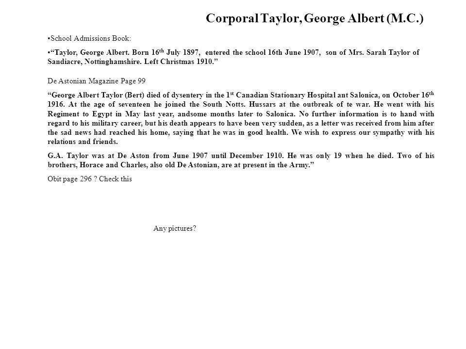 Corporal Taylor, George Albert (M.C.)