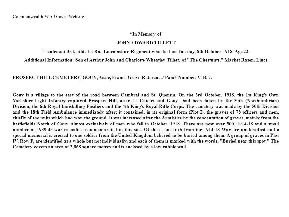 Commonwealth War Graves Website: