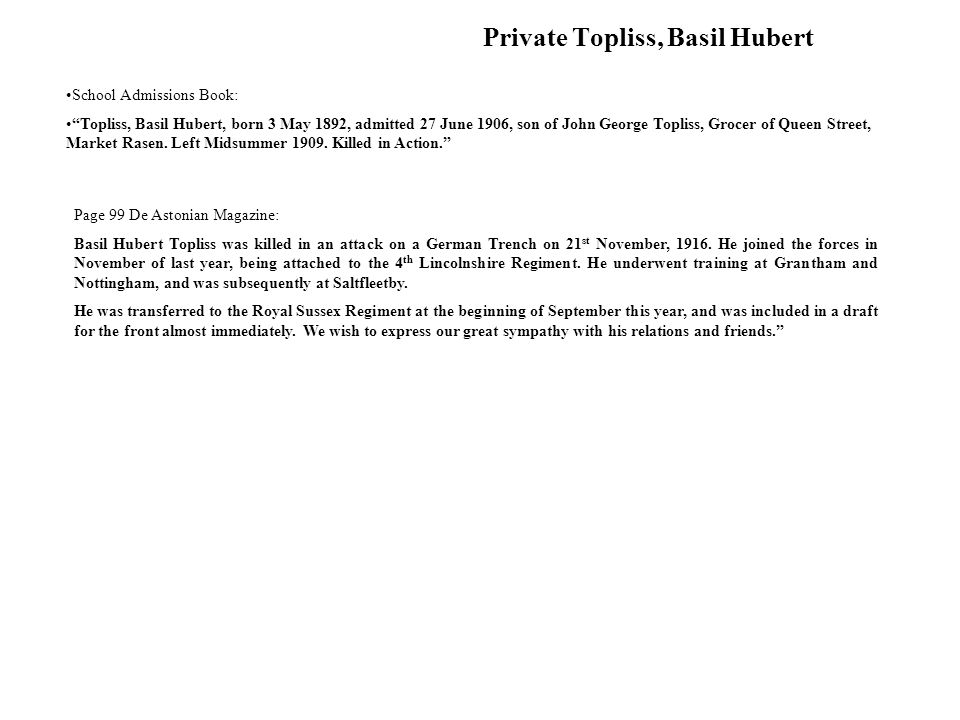 Private Topliss, Basil Hubert