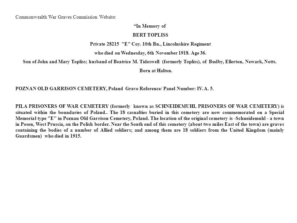Commonwealth War Graves Commission Website: In Memory of BERT TOPLISS
