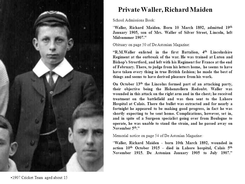 Private Waller, Richard Maiden