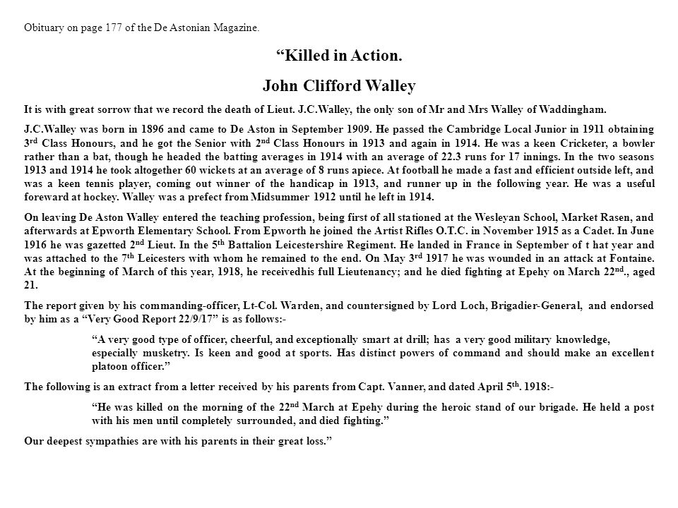 Killed in Action. John Clifford Walley