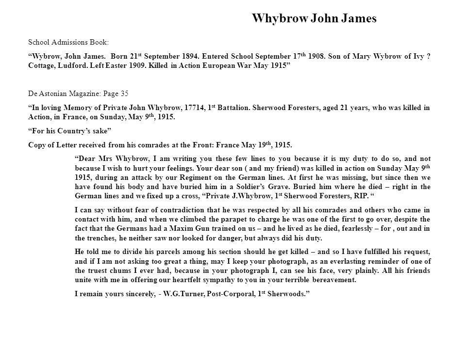 Whybrow John James School Admissions Book: