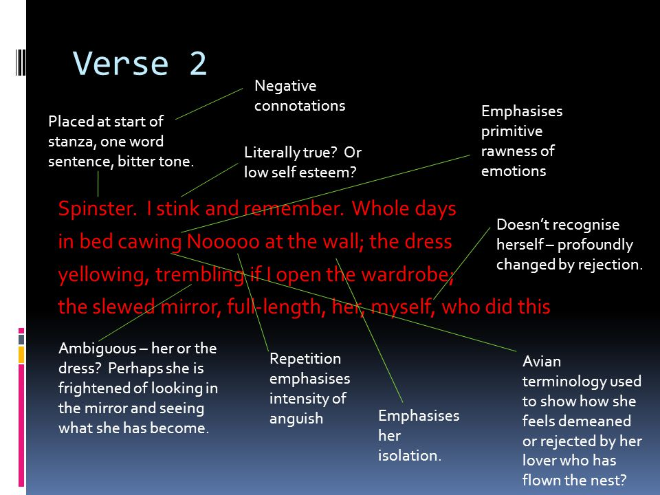 Verse 2 Negative connotations.