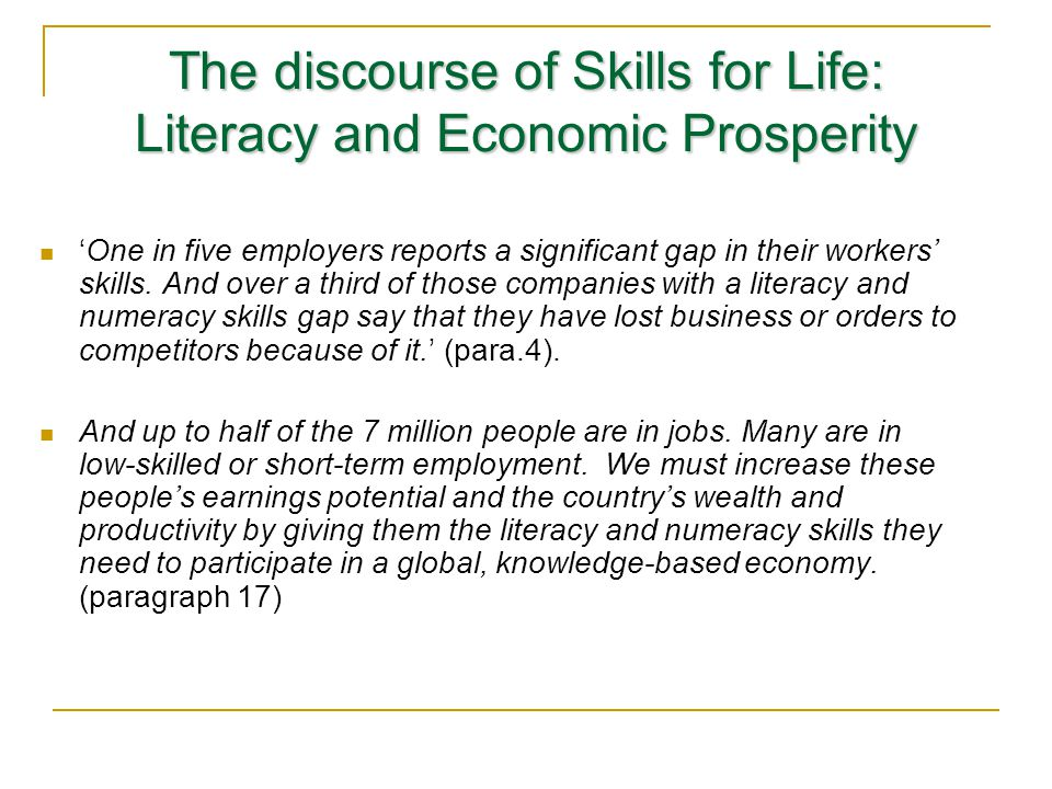 The discourse of Skills for Life: Literacy and Economic Prosperity