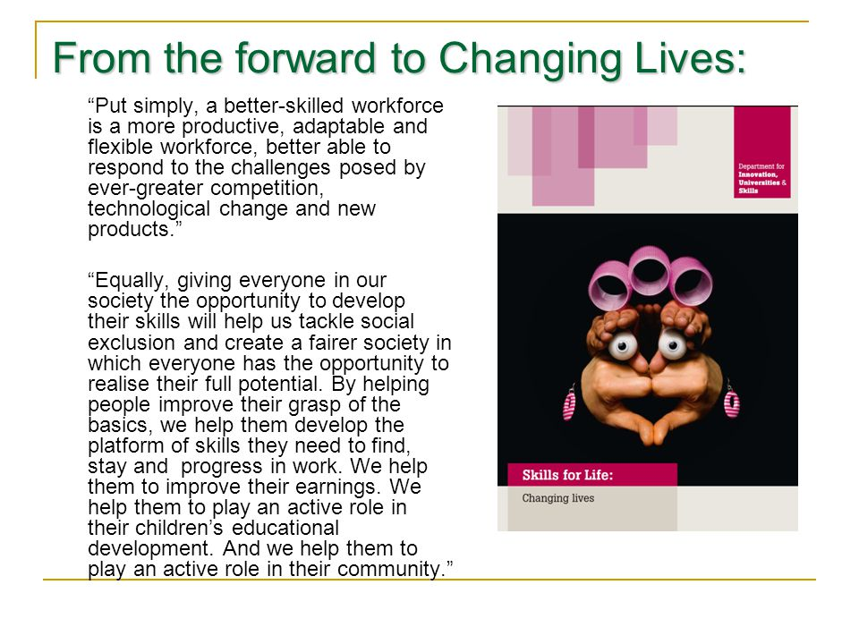 From the forward to Changing Lives: