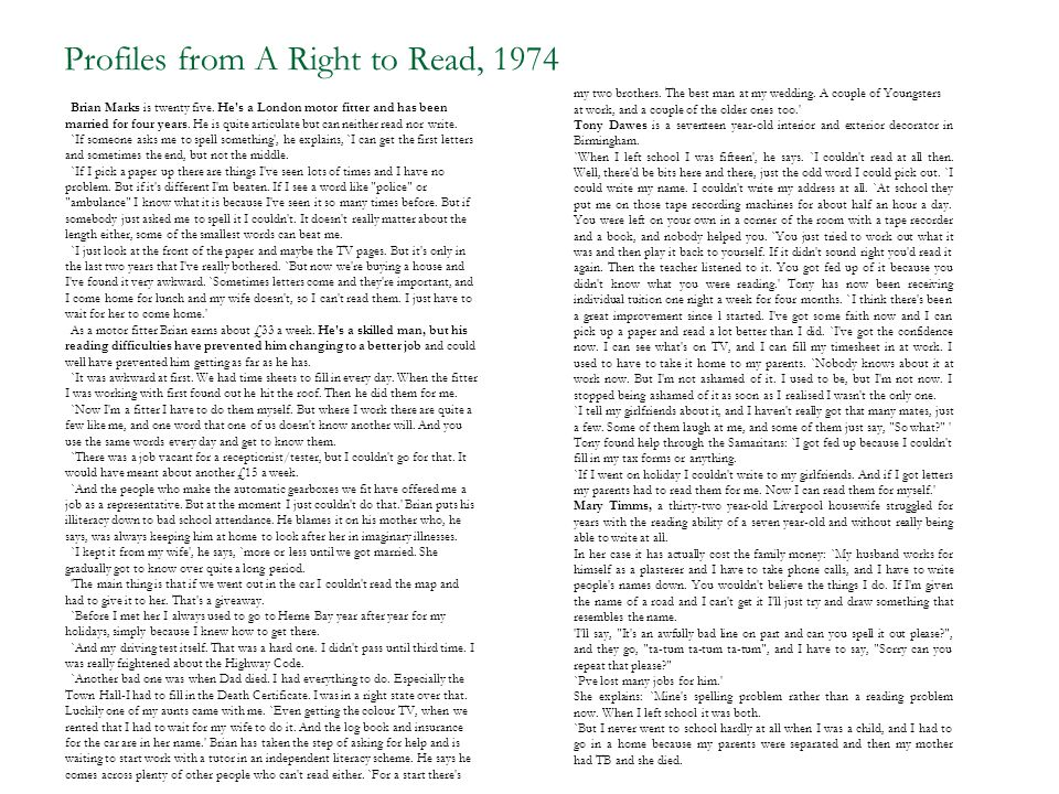 Profiles from A Right to Read, 1974