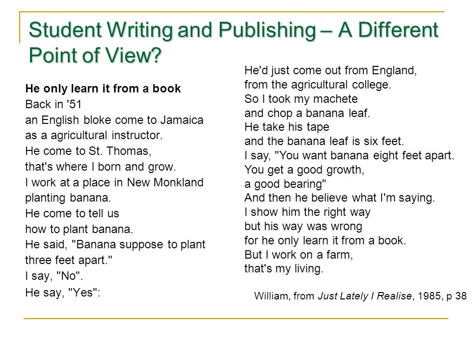 Student Writing and Publishing – A Different Point of View