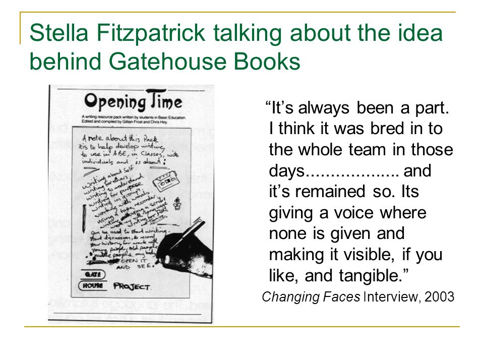 Stella Fitzpatrick talking about the idea behind Gatehouse Books