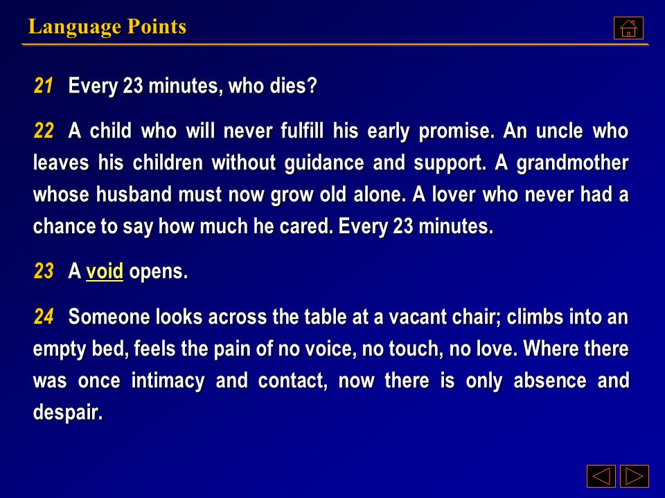 Language Points 21 Every 23 minutes, who dies