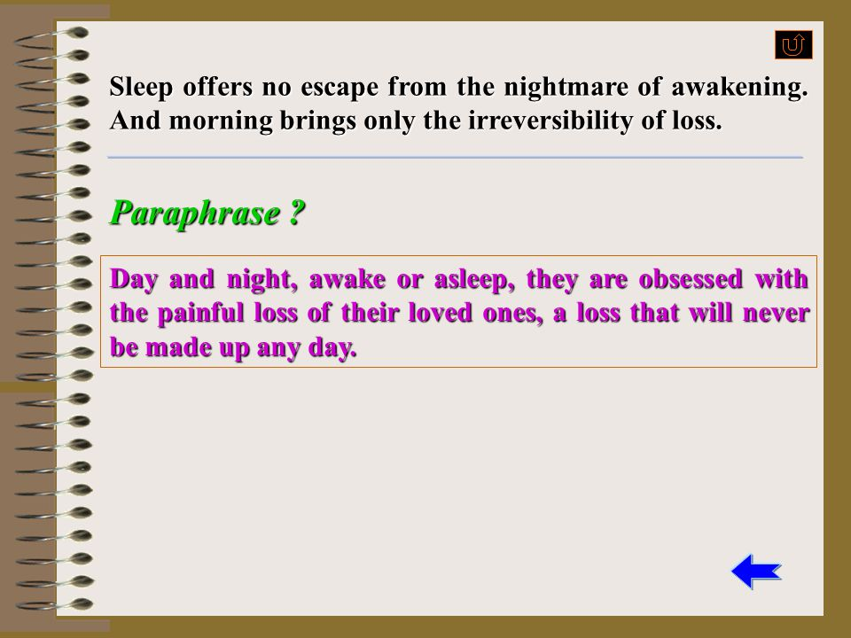 Sleep offers no escape from the nightmare of awakening