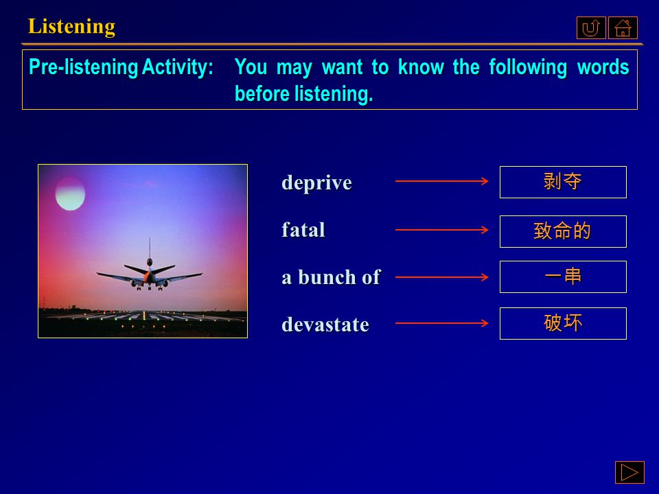 Listening Pre-listening Activity: You may want to know the following words before listening. deprive.
