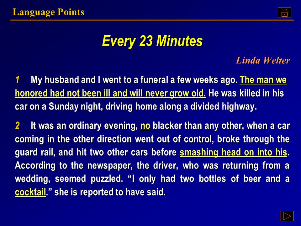 Every 23 Minutes Linda Welter Language Points