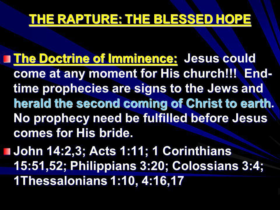 THE RAPTURE: THE BLESSED HOPE