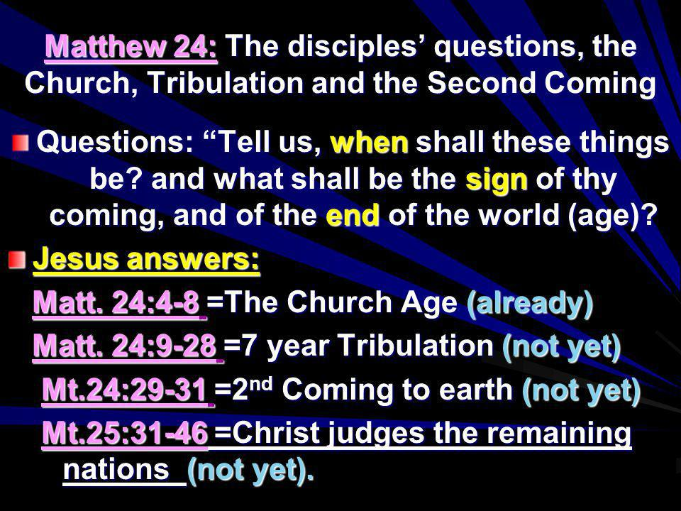 Matthew 24: The disciples' questions, the Church, Tribulation and the Second Coming