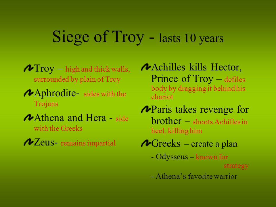 Siege of Troy - lasts 10 years